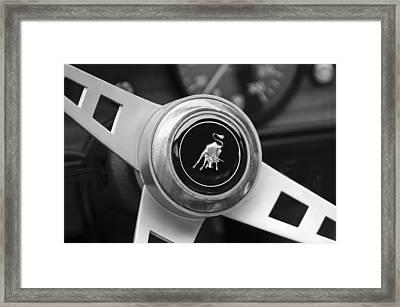 Lamborghini Steering Wheel Emblem Framed Print by Jill Reger