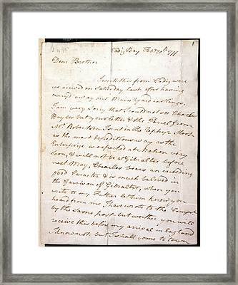 Letter Of Lord Nelson Framed Print by British Library