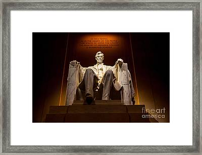 Lincoln Memorial At Night - Washington D.c. Framed Print by Gary Whitton