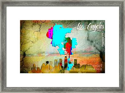 Los Angeles Map And Skyline Framed Print by Marvin Blaine