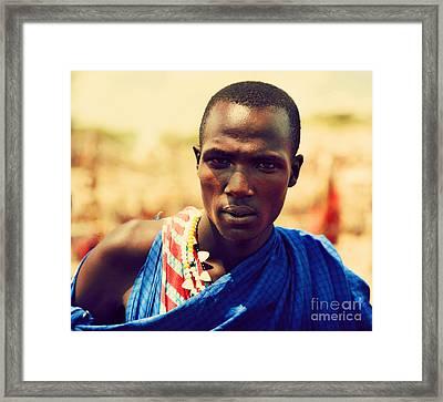 Maasai Man Portrait In Tanzania Framed Print by Michal Bednarek