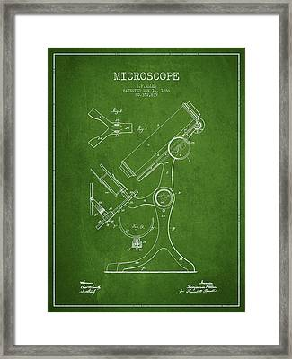 Microscope Patent Drawing From 1886 - Green Framed Print by Aged Pixel