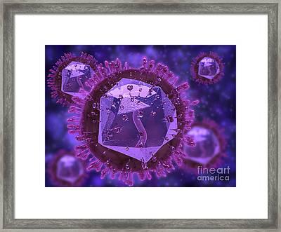 Microscopic View Of Herpes Virus Framed Print by Stocktrek Images