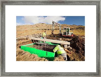 New Wind Turbine Construction Work Framed Print by Ashley Cooper
