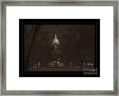 Notre Dame Golden Dome Snow Poster Framed Print by John Stephens