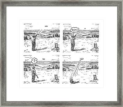 4 Panels.  Man Shoots At A Grout Which Then Turns Framed Print by Rob Esmay