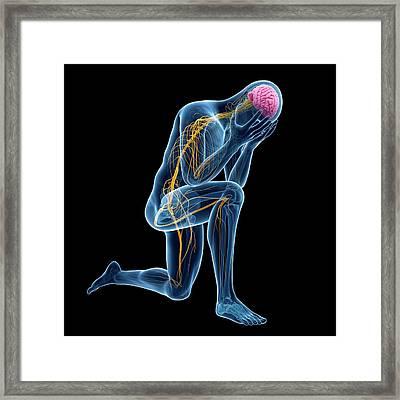 Person Kneeling Framed Print by Sebastian Kaulitzki