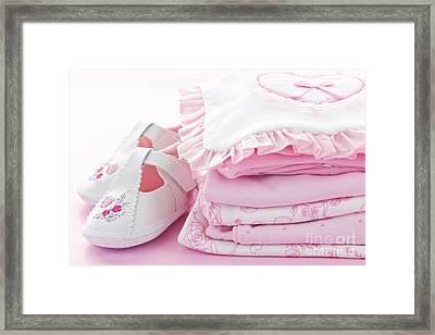 Pink Baby Clothes For Infant Girl Framed Print by Elena Elisseeva