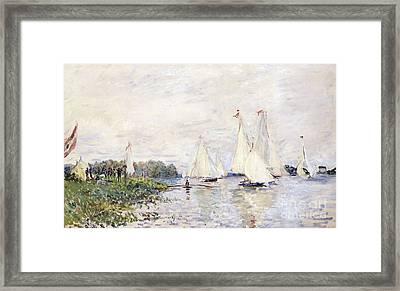 Regatta At Argenteuil Framed Print by Claude Monet