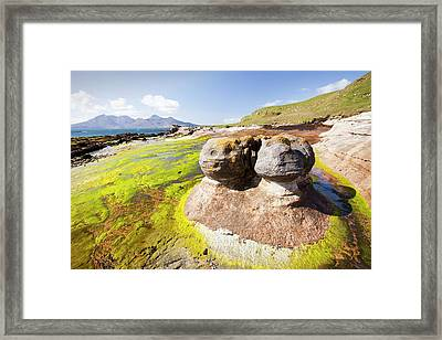 Rock Formations At The Bay Of Laig Framed Print by Ashley Cooper