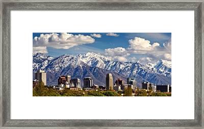 Salt Lake City Skyline Framed Print by Utah Images