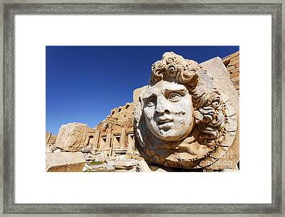Sculpted Medusa Head At The Forum Of Severus At Leptis Magna In Libya Framed Print by Robert Preston