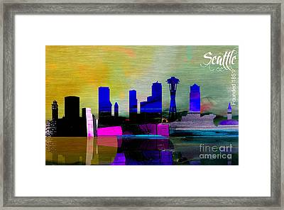 Seattle Skyline Watercolor Framed Print by Marvin Blaine