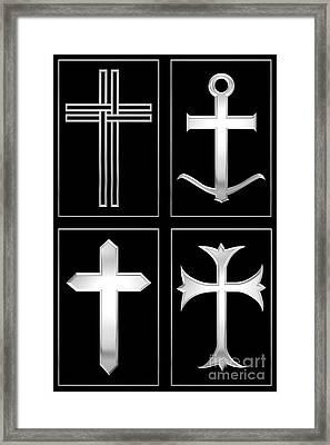 4 Silver Crosses Framed Print by Rose Santuci-Sofranko