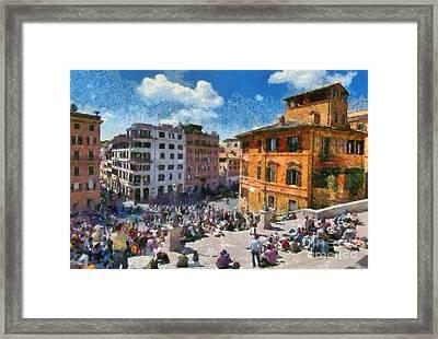 Spanish Steps At Piazza Di Spagna Framed Print by George Atsametakis