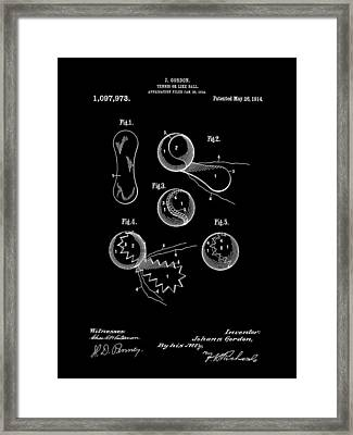 Tennis Ball Patent 1914 - Black Framed Print by Stephen Younts