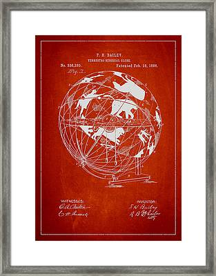 Terrestro Sidereal Globe Patent Drawing From 1886 Framed Print by Aged Pixel