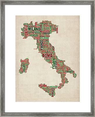 Text Map Of Italy Map Framed Print by Michael Tompsett