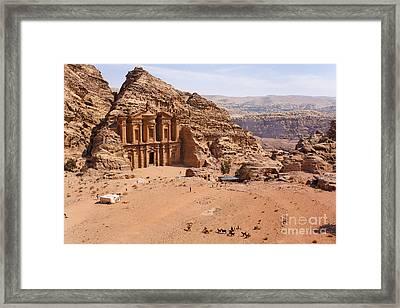 The Monastery At Petra In Jordan Framed Print by Robert Preston