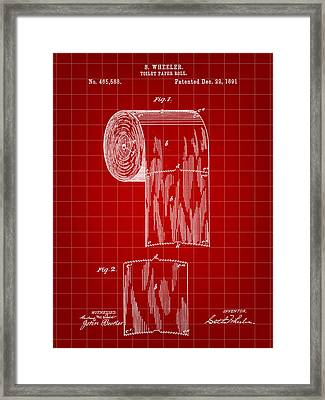 Toilet Paper Roll Patent 1891 - Red Framed Print by Stephen Younts