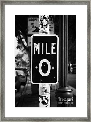Us Route 1 Mile Marker 0 Start Of The Highway Key West Florida Usa Framed Print by Joe Fox