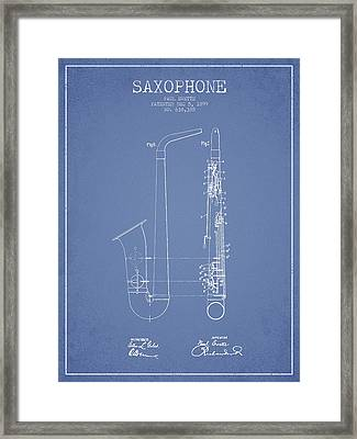 Saxophone Patent Drawing From 1899 - Light Blue Framed Print by Aged Pixel
