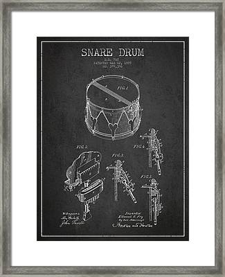 Vintage Snare Drum Patent Drawing From 1889 - Dark Framed Print by Aged Pixel