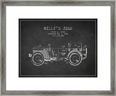 Vintage Willys Jeep Patent From 1942 Framed Print by Aged Pixel
