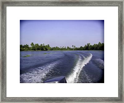 Wake From The Wash Of An Outboard Motor Boat Framed Print by Ashish Agarwal