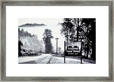 Welcome To Twin Peaks Framed Print by Luis Ludzska