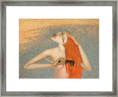 Wet Hair Framed Print by Nicolay  Reznichenko
