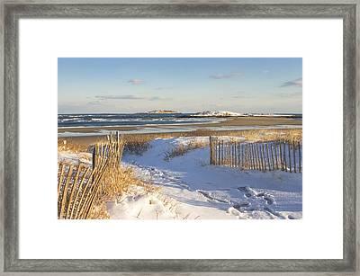 Winter At Popham Beach State Park Maine Framed Print by Keith Webber Jr