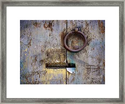 Wooden Door Framed Print by Bernard Jaubert