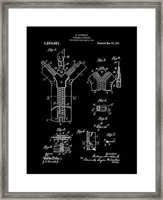 Zipper Patent 1914 - Black Framed Print by Stephen Younts