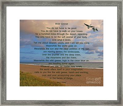 40- Wild Geese Mary Oliver Framed Print by Joseph Keane