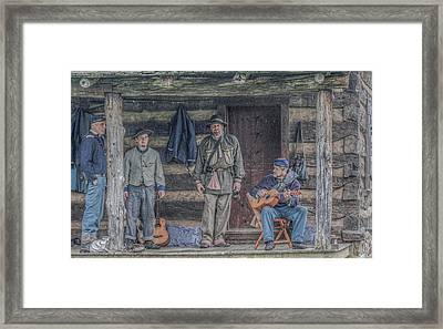 40th Pennsylvania In Camp Entertaining Prisoners Framed Print by Randy Steele