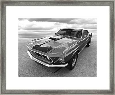 428 Cobra Jet Mach1 Ford Mustang 1969 In Black And White Framed Print by Gill Billington