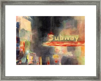 42nd Street Subway Watercolor Painting Of Nyc Framed Print by Beverly Brown Prints