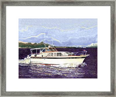 46 Foot 1965 Classic Chris Craft Terific Framed Print by Jack Pumphrey