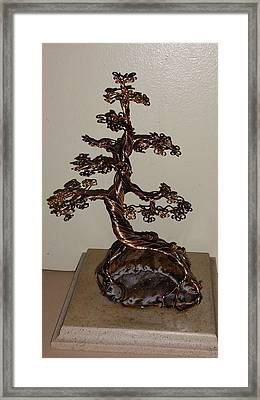 #46 Gold And Bronze Wire Tree Sculpture Root Over Agate Crystal Framed Print by Ricks  Tree Art