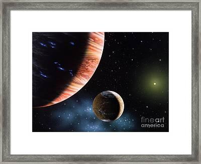 47 Ursae Majoris B And Moon Framed Print by Lynette Cook