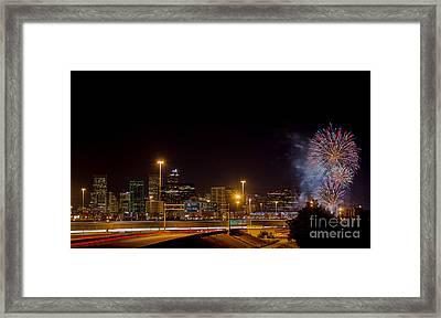 4th Of July Fireworks Over Denver Skyline Framed Print by Bridget Calip