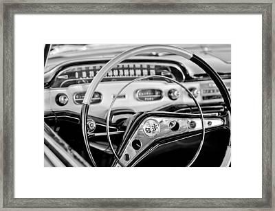 1958 Chevrolet Impala Steering Wheel Framed Print by Jill Reger