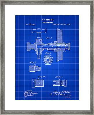 Beer Tap Patent 1876 - Blue Framed Print by Stephen Younts