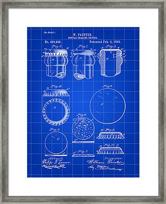 Bottle Cap Patent 1892 - Blue Framed Print by Stephen Younts