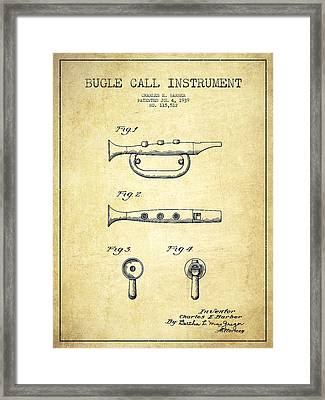 Bugle Call Instrument Patent Drawing From 1939 - Vintage Framed Print by Aged Pixel