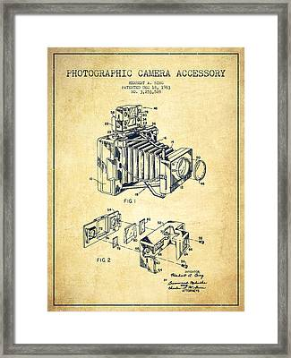 Camera Patent Drawing From 1963 Framed Print by Aged Pixel