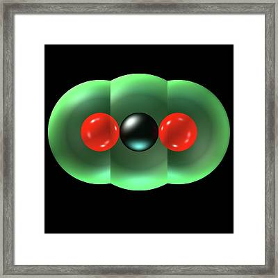 Carbon Dioxide Molecule Framed Print by Russell Kightley