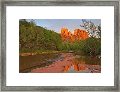 Cathedral Rocks Reflect Into Oak Creek Framed Print by Chuck Haney