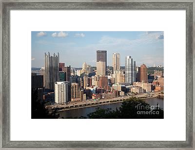 Downtown Skyline Of Pittsburgh Pennsylvania Framed Print by Bill Cobb